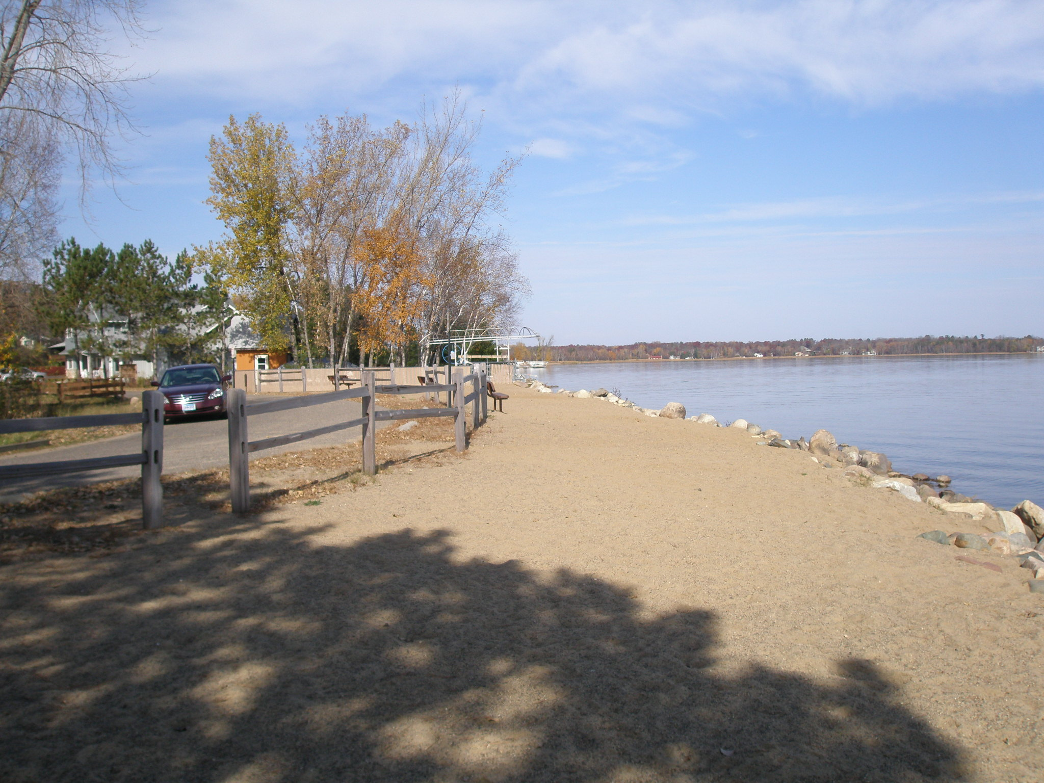 8f222789 swimming beach is open on Sand Beach Drive. Comfortable benches were added  for your beach and